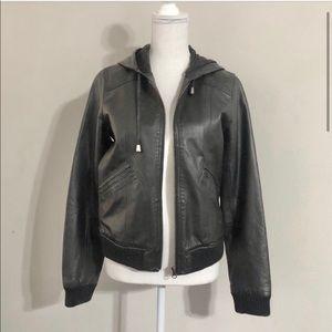 BB Dakota Leather Hooded Bomber Jacket.